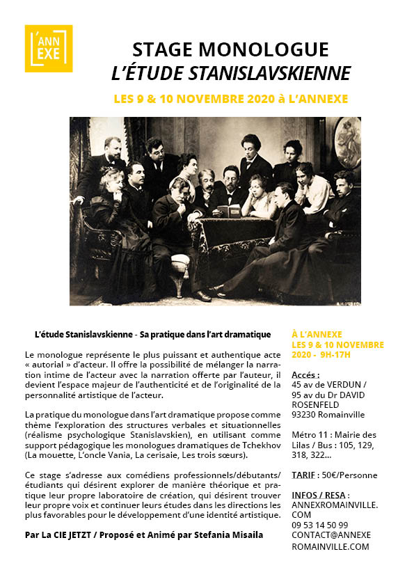 STAGE MONOLOGUE : L'étude Stanislavskienne
